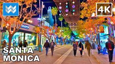 [4K] 🎄 Downtown Santa Monica, Los Angeles, California - 3rd Street Prome... Santa Monica Blvd, Holiday Lights, Walking Tour, Beverly Hills, Angels, California, Tours, Spaces, Street