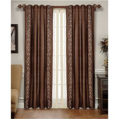 """M & J Window Treatments, Vienna Silk Embroidered Energy Saving 42"""" x... (2.083.000 IDR) ❤ liked on Polyvore featuring home, home decor, window treatments, curtains, men, silk window panels, rod pocket curtain panels, embroidered window panels, silk window curtains and embroidered window curtains"""