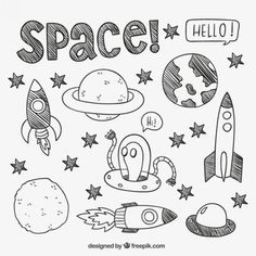 30 Super ideas for design illustration drawing doodles Doodle Art, Doodle Drawings, Easy Drawings, Drawing Sketches, Drawing Art, Doodle Kids, Space Drawings, Doodle Books, Doodle Sketch