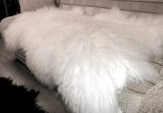 """Sheepskin with long wool """"Cozy evening"""". Such a fluffy handmade  home decor item isn't just nice, but very useful. Brings warmness, style and pleasure to bare feet. For your Scandinavian interior design."""