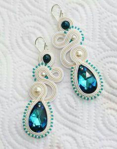 earrings soutache Soutache Necklace, Beaded Earrings, Earrings Handmade, Beaded Jewelry, Handmade Jewelry, Soutache Tutorial, Earring Tutorial, Diy Schmuck, Schmuck Design