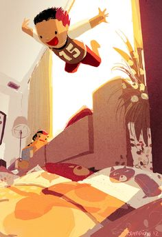 """(Pinned by AshOkaConcept ॐ) Original Illustrations by Pascal Campion """"The boys have this new game. they throw all the pillows they can find in front of the couch, climb as high as they can and dive head first into the pillows. Art And Illustration, Illustrations And Posters, Dove Drawing, Story Starter, Pascal Campion, Animation, Storyboard, Illustrators, Concept Art"""