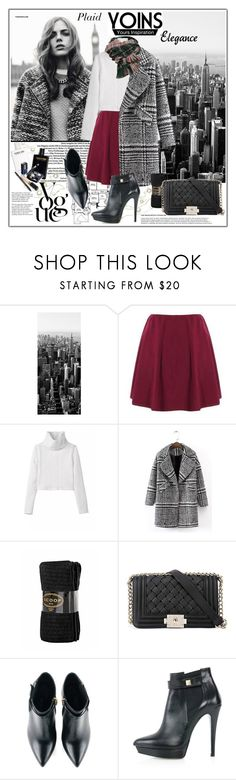 """""""YOINS- A fashion look from  Plaid coat!"""" by vaniasb152 ❤ liked on Polyvore featuring мода, Topshop, 1Wall, Scoop, Chanel, Kim Kwang, Tiffany & Co., yoins и yoinscollection"""