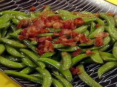 Sugar Snap Peas with Onions and Bacon recipe from Rachael Ray via Food Network