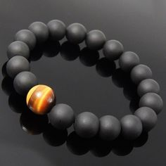 Handmade Men/Women Bracelet Matte Black Onyx Tiger Eye Gemstone Beads Stretch #DIYKAREN #MenWomenGemstoneBracelet