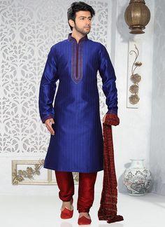Buy Brilliant Blue Art Silk Kurta Pyjama online from the wide collection of kurta-pyjama.  This Blue colored kurta-pyjama in Art Silk fabric goes well with any occasion. Shop online Designer kurta-pyjama from cbazaar at the lowest price.