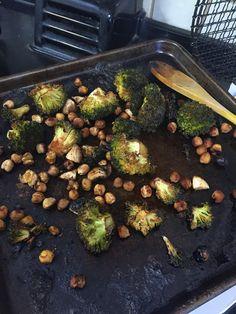 Tamari and maple roasted broccoli, chickpea and mushroom salad with ...