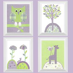 owl nursery purple and green - Google Search
