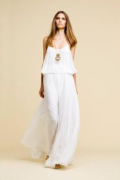 Dress Bohemian | HH001 - Chiffon Pleated Maxi Boho Dress in Off White - Bazaar Item By ...