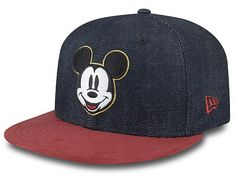 Mickey Mouse gets dressed up in the Denim Suede Mickey Snapback Cap is a  two tone style in Indigo Blue and Crimson. 3bd2bec9e0c