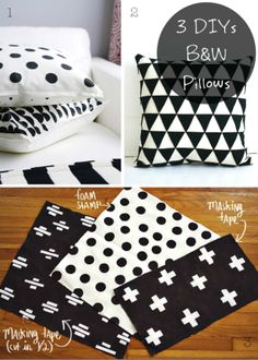 3 DIYs: Black and White Pillows - 3 Tutoriales para hacer o decorar cojines en blanco y negro