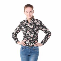 Women Floral Shirts Cotton