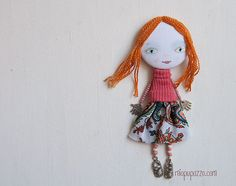 New Look Big Head Girl Art Doll Brooch by miopupazzo on Etsy