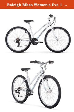 """Raleigh Bikes Women's Eva 1 Recreational Mountain Bike, 15""""/Small, White. Get outside for some fresh air this weekend and have fun with your new two-wheeled companion, EVA! from town to trail and back again, this entry-level women's mountain bike is equally at home on the dirt as it is on the pavement. The EVA 1's durable steel frame is designed with women's-specific geometry for bump-absorbing comfort while riding and the step-thru style makes for easy on and off. The cushy Raleigh…"""
