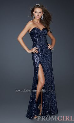 Floor Length Strapless Sequin Gown by La Femme - promgirl.com