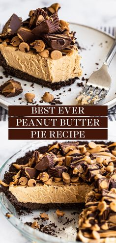 This homemade Peanut Butter Pie is made from scratch with just a few easy ingredients and will have everyone coming back for seconds! Tons of amazing chocolate and peanut butter flavor and topped with reese's. The best dessert idea to serve for a crowd!