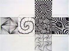 op art cubes template