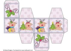 All In One Gift Box Christmas Reindeer on Craftsuprint designed by Sheila Rodgers - These little gift boxes are very quick and easy to make. Everything you need is on one sheet of card, just print, score along the lines and fold and stick. The Christmas designs would look great tied with twine and hung on a Christmas tree. The finished box sides measure 6cm. - Now available for download!