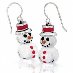 Snowman French Wire Earrings ($48) ❤ liked on Polyvore