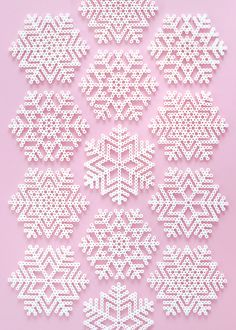 Perler Christmas Bead Patterns Snowflakes and fun Melty Bead Patterns, Pearler Bead Patterns, Beading Patterns Free, Perler Patterns, Weaving Patterns, Fun Patterns, Knitting Patterns, Embroidery Patterns, Pattern Designs