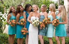 different color/style bridesmaid dresses but same color scheme