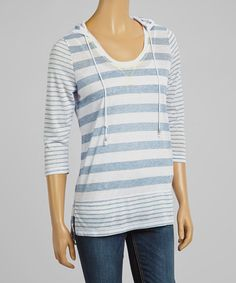 Take a look at the Shale Blue Stripe Hoodie on #zulily today!