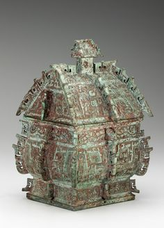 Square lidded ritual wine container (fangyi) with taotie, serpents, and birds ca. 1050-975 B.C.E. Unidentified, Chinese Early Western Zhou dynasty Bronze H: 35.3 W: 24.8 D: 23.3 cm Luoyang, Henan province, China