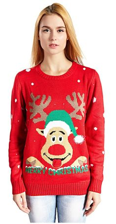v28 womens christmas reindeer snowflakes sweater pullover at amazon womens clothing store - Ugly Christmas Sweater Amazon