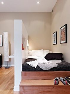 Studio apartment. Love that there's a room divider and steps leading up to the bed. It looks so cozy.