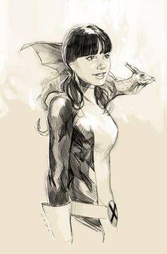 Kitty Pryde X-men incarnation) and her pet dragon Lockheed by Phil Noto. Comic Book Girl, Comic Book Artists, Comic Book Characters, Comic Artist, Comic Character, Comic Books Art, Marvel Characters, Kitty Pryde, Phil Noto