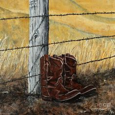 Barbed Wire and Boots Painting