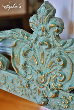 Florence & Duck Egg Blue Chalk Paint® decorative paint by Annie Sloan were used to create this patina-like finish on an ornate mirror