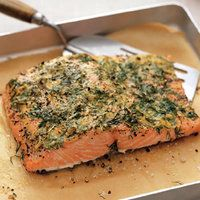 Mustard Crusted Salmon -- Light, easy, and delicious! Skip the olive oil to lighten it up. Can be served hot or cold (leftovers for lunch)!