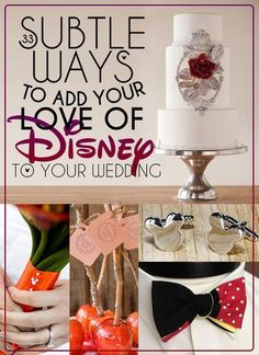 Wedding Ideas 33 Subtle Ways To Add Your Love Of Disney To Your Wedding. I think I need to do some of these, haha. - So maybe you aren't getting married in a castle. You can still add a touch of Disney Magic to your special day. Wedding Themes, Wedding Tips, Trendy Wedding, Perfect Wedding, Our Wedding, Dream Wedding, Wedding Venues, Disney Wedding Centerpieces, Wedding Decorations