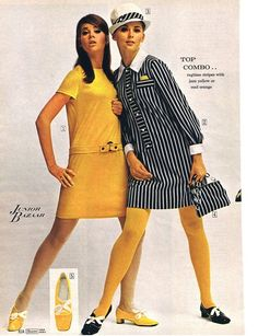 Junior Bazaar fashions from Sears, 1968. The dress on the right looks so comfy , yet super cute