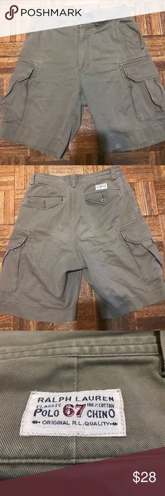 Ralph Lauren Classic Cotton Polo 67 Chino Shorts This is a great pair of Polo cargo shorts. There is a stain at the hem. Stain may be able to be washed out. Please see pictures. Size 32 Ralph Lauren Shorts Cargo