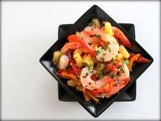Shrimp w/Warm Pineapple-Pepper Relish