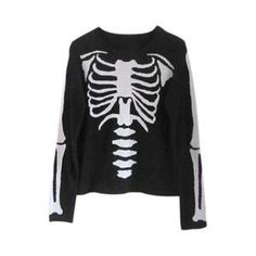 Cardigans/Jumpers - White Skeleton Long-sleeved Black Jumper #pariscoming your personal style online store. #outfit #stylist #Styling #streetstyle #fashionblog #fashiondiaries #fashiondiary #WearIt #WhatYouWear ✿ ❀ like it? buy now ❀ ✿