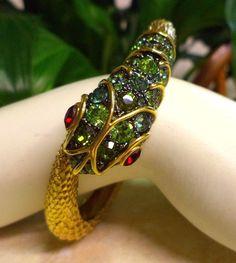 Vtg Haute Couture KENNETH JAY LANE Emerald Rhinestone Golden Snake Bracelet MINT #KennethJayLane #Cuff