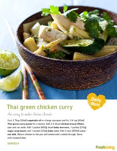 Aside from Thai green curry being absolutely delicious, it's also quick and easy to make. Asian Recipes, New Recipes, Dinner Recipes, Favorite Recipes, Healthy Recipes, Thai Green Chicken Curry, Green Curry, Chicken Breast Fillet, Recipe Search