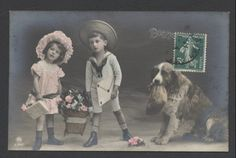 MA5057 ST. BERNARD DOG WITH MONEY BAG IN MOUTH, VICTORIAN CHILDREN  RPPC 1911