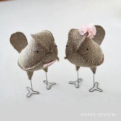 Burlap Wedding Cake Topper Love Birds, Rustic Linen Burlap with Blush Pink Flower/Bow Tie, Rustic Wedding Decorations
