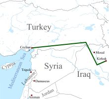 Map showing the Kirkuk-Ceyhan Oil Pipeline. It is Iraq's largest crude oil pipeline. Iraq is considering building a new Kirkuk–Ceyhan pipeline to bypass attack-prone areas and double the export capacity. Iraqi Military, Syria Conflict, Kurdistan, Baghdad, Cyprus, Lebanon, Line, Britain, Middle East