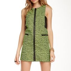 New Nasty Gal dress New with tags Nasty Gal dress. Bright green color with leather patches. Front zipper. 33% polyester, 10% cotton, 4% metallic Lining & Trim: 100% polyester. Size small Nasty Gal Dresses Mini