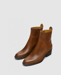 e301d6ef59a Image 2 of LEATHER MID-HEEL ANKLE BOOTS from Zara Mid Heel Ankle Boots