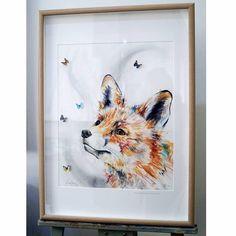 Framed fox watercolour with butterflies - chloe brown art Watercolor Fox, Watercolor Artwork, Brown Art, Contemporary Artwork, Art Tutorials, Flower Art, Original Artwork, Butterfly, Art Prints