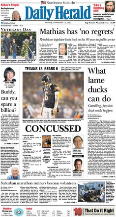 Daily Herald front page, Nov. 12, 2012
