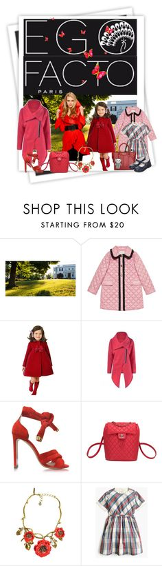"""""""mother and daughter"""" by snowmoon ❤ liked on Polyvore featuring GALA, Gucci, Nicholas Kirkwood, Chanel, Oscar de la Renta, J.Crew and Carriere"""