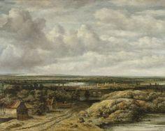Philips Koninck | Distant View with Cottages along a Road, Philips Koninck, 1655 | Vergezicht met hutten aan een weg. Een uitgestrekt rivierlandschap in vogelvluchtperspectief. Langs een zandweg staat een rij boerenhuizen, daarachter een brug, in de verte een stad gelegen aan een rivier.