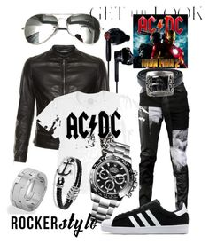 """""""City Walker Rocker Cool"""" by bvn01 ❤ liked on Polyvore featuring Under Armour, Any Old Iron, Dolce&Gabbana, West Coast Jewelry, Rolex, adidas, Chrome Hearts, David Yurman, men's fashion and menswear"""